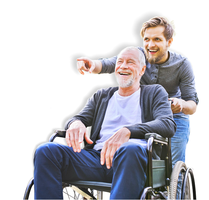 senior man on a wheelchair and his caregiver